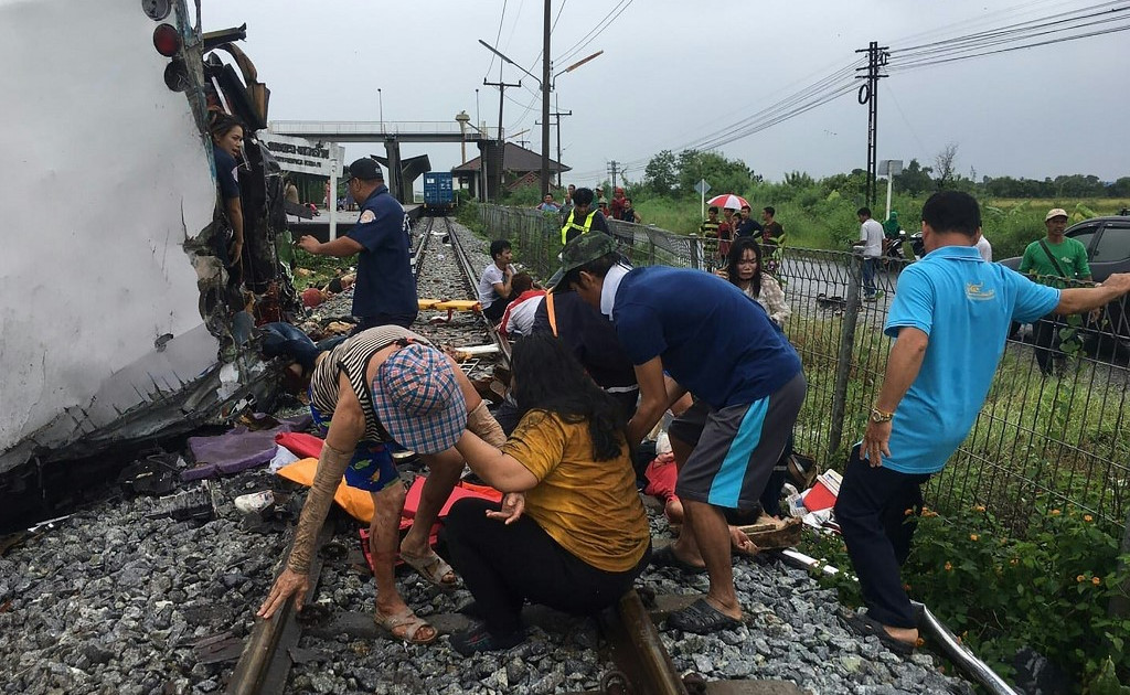 Many reported dead in Thailand bus-train collision