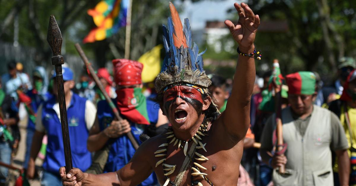 In Pictures: Indigenous people protest on Columbus Day