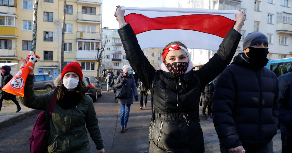 Thousands of protesters march in Belarus, dozens detained